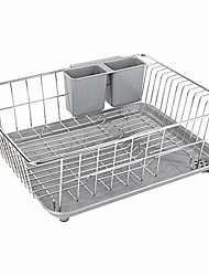 cheap -Dish Drying Rack With Drain Board Stainless Steel Dish Drainer Drying Rack With Utensil Holder For Kitchen Counter Dish Drain Rack With One Cleaning Cloth