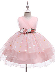 cheap -Kids Girls' Cute Streetwear Daisy Jacquard Solid Colored Print Sleeveless Above Knee Dress Blue
