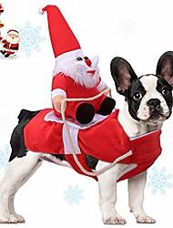 رخيصةأون -الحيوانات الأليفة ازياء عيد الميلاد سانتا كلوز ركوب على كلب الحيوانات الأليفة ملابس الشتاء الدافئة الملابس حزب خلع الملابس الملابس للكلاب الصغيرة والقطط الكبيرة
