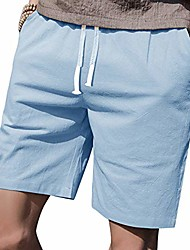"""cheap -mens casual shorts elastic waist 7"""" inseam with drawstring slim fit summer pants with pockets& #40;sky blue,m& #41;"""