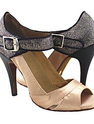cheap -Women's Latin Shoes Heel Slim High Heel PU Leather Buckle Glitter Almond