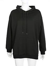 halpa -Naisten Pullover-huppari Yhtenäinen Perus Hupparit paidat Valkoinen Musta Uima-allas