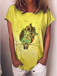 cheap -Women's T-shirt Animal Print Round Neck Tops Loose Basic Basic Top Yellow Light Green