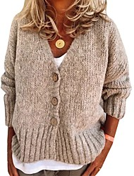 cheap -Women's Basic Knitted Solid Color Plain Cardigan Acrylic Fibers Long Sleeve Loose Sweater Cardigans V Neck Fall Winter Blue Khaki