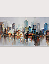 cheap -Mintura  Large Size Hand Painted Abstract City Landscape Oil Painting On Canvas Modern Pop Art Posters Wall Picture For Home Decoration No Framed Rolled Without Frame