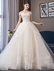 cheap -Ball Gown Wedding Dresses Off Shoulder Chapel Train Organza Cap Sleeve Formal Elegant with Crystals Appliques 2021