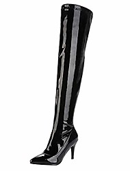 cheap -womens patent leather thigh high stiletto over the knee pointed toe boots& #40;black,us size 7.5& #41;