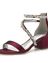 cheap -Women's Wedding Shoes Cuban Heel Open Toe Classic Sweet Minimalism Wedding Party & Evening Satin Rhinestone Crystal Solid Colored White Black Purple