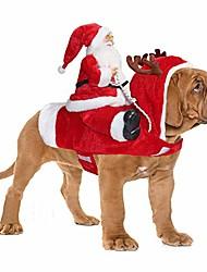 رخيصةأون -سانتا الكلب زي عيد الميلاد ملابس الحيوانات الأليفة سانتا كلوز ركوب الحيوانات الأليفة تأثيري ازياء حزب خلع الملابس الكلاب القطط الزي لل صغير متوسط كبير الكلاب القطط