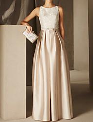 cheap -A-Line Empire Elegant Wedding Guest Formal Evening Dress Jewel Neck Sleeveless Floor Length Satin with Sash / Ribbon Pleats Appliques 2021
