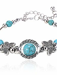 cheap -turquoise bracelet classic luxury women summer unique design beaded imitation gemstone butterfly bracelet jewelry