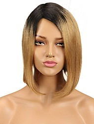 cheap -Remy Human Hair Wig Medium Length Natural Straight Side Part Natural Party Women Fashion Capless Women's Natural Black #1B Medium Auburn#30 Black / Strawberry Blonde 10 inch