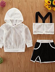cheap -Toddler Girls' Clothing Set Solid Colored Long Sleeve Casual White Black Basic Regular Regular