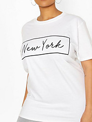 cheap -Women's Tee / T-shirt Artistic Style Crew Neck Letter Printed Sport Athleisure T Shirt Short Sleeves Breathable Soft Comfortable Plus Size Everyday Use Exercising General Use