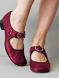 cheap -Women's Flats Wedge Heel Round Toe Casual Daily Walking Shoes PU Solid Colored Black Burgundy Khaki