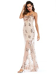 cheap -Women's A-Line Dress Maxi long Dress - Sleeveless Floral Backless Embroidered Summer Strapless Sexy Party Club Slim 2020 Gold S M L XL XXL