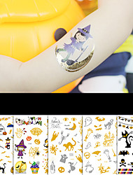 cheap -Halloween Party Toys Tattoo Stickers 7 pcs Cartoon 3D Bronzing Waterproof Paper Kid's Adults Trick or Treat Halloween Party Favors Supplies