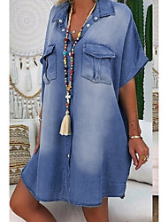 cheap -Women's Denim Shirt Dress Knee Length Dress Blue Dusty Blue Light Blue Short Sleeve Summer V Neck Hot Casual 100% Cotton 2021 S M L XL XXL 3XL