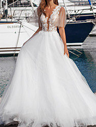 cheap -A-Line Wedding Dresses V Neck Floor Length Lace Tulle Sleeveless Beach with Appliques 2020