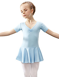 cheap -Ballet Leotard / Onesie Satin Bow Solid Girls' Training Performance Short Sleeve Natural Cotton