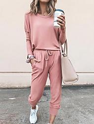 cheap -Women's Solid Colored Plain Two Piece Set Tracksuit T shirt Pant Loungewear Jogger Pants 2 Piece Tops