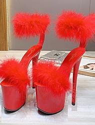 cheap -Women's Dance Shoes Pole Dancing Shoes Heel Slim High Heel White Black Yellow Hook&loop