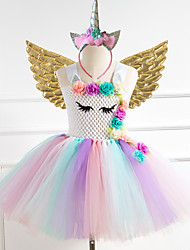 cheap -Unicorn Dress Wings Costume Girls' Movie Cosplay Tutus Braided / Cord Vacation Dress Golden Silver Rainbow Dress Wings Headwear Christmas Halloween Carnival Polyester / Cotton Polyester