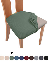 cheap -1 Set of 2 pcs Solid Color Dining Chair Seat Covers, Stretch Fitted Dining Room Upholstered Chair Seat Cushion Cover, Removable Washable Furniture Protector Slipcovers with Ties