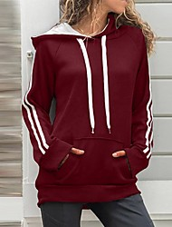 cheap -Women's Pullover Hoodie Sweatshirt Solid Colored Casual Basic Hoodies Sweatshirts  Blue Red