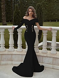 cheap -Mermaid / Trumpet Elegant Minimalist Engagement Formal Evening Dress Off Shoulder Long Sleeve Sweep / Brush Train Cotton with Buttons 2020