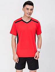 cheap -Men's Soccer Jersey and Shorts Clothing Suit Breathable Sweat-wicking Team Sports Active Training Football Stripes Polyester Adults Red / Short Sleeve