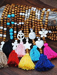 cheap -Women's Long Necklace Tassel Fringe Star Elegant Resin Wood Black Yellow Red Blue Pink 55 cm Necklace Jewelry 1pc For Daily