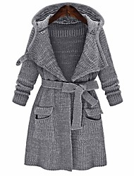 cheap -Women's Basic Knitted Solid Colored Cardigan Long Sleeve Sweater Cardigans Shirt Collar Spring Fall Gray
