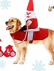 رخيصةأون -الحيوانات الأليفة الكلب القط زي عيد الميلاد ، مضحك سانتا كلوز ركوب الزي للكلاب الصغيرة الكبيرة ، سانتا كلوز ركوب الحيوانات الأليفة لإرسال هدية فارس الحيوانات الأليفة الملابس دعوى لتزيين عيد الميلاد