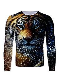 cheap -Men's T shirt Graphic Animal Print Long Sleeve Daily Tops Basic Black