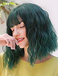 cheap -Synthetic Wig Wavy Water Wave Side Part Neat Bang With Bangs Wig Medium Length Green Synthetic Hair 14 inch Women's Cosplay Party Adorable Green BLONDE UNICORN / African American Wig