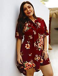 cheap -Women's A-Line Dress Short Mini Dress - Short Sleeve Floral Print Summer V Neck Casual 2020 White Black Wine XL XXL 3XL 4XL
