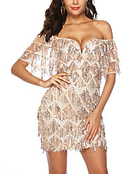 cheap -Women's A Line Dress Short Mini Dress Gold Sleeveless Solid Color Backless Sequins Tassel Fringe Summer V Neck Hot Sexy 2021 S M L XL XXL