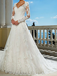 cheap -A-Line Wedding Dresses V Neck Sweep / Brush Train Lace Long Sleeve Beach with 2021