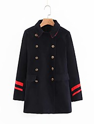 cheap -Women's Solid Colored Basic Fall & Winter Coat Long Daily Long Sleeve Wool Blend Coat Tops Dusty Blue