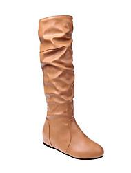 povoljno -Žene Čizme Ravna potpetica Okrugli Toe Ležerne prilike Osnovni Dnevno Jednobojni PU Čizme preko koljena Hodanje Crn / Bijela / Sive boje