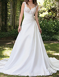 cheap -A-Line Wedding Dresses Sweetheart Neckline Chapel Train Lace Satin Sleeveless Formal with Ruched Appliques 2020