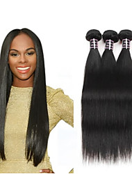 cheap -4 Bundles Hair Weaves Brazilian Hair Straight Human Hair Extensions Human Hair Hair Weft with Closure 8-28 inch Natural Women Natural Youth