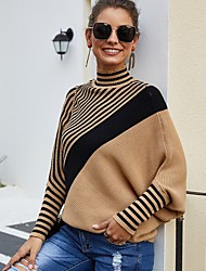 cheap -Women's Basic Knitted Striped Sweater Long Sleeve Loose Sweater Cardigans Turtleneck Fall Winter Camel
