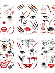 cheap -Halloween Party Toys Tattoo Stickers 9 pcs Skull Skeleton Spiders 3D Witch Scary Waterproof Paper Kid's Adults Trick or Treat Halloween Party Favors Supplies