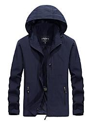cheap -Men's Solid Colored Basic Spring &  Fall Jacket Regular Daily Long Sleeve Nylon Coat Tops Blue