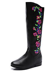 Недорогие -Жен. Ботинки Туфли на танкетке Круглый носок На каждый день Классический Повседневные Цветы Цветочный принт Однотонный Полиуретан Сапоги до колена Для прогулок Черный