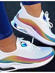 cheap -Women's Trainers Athletic Shoes Sneakers Round Toe Sporty Daily Walking Shoes Elastic Fabric Lace-up Color Block Rainbow White Black Pink