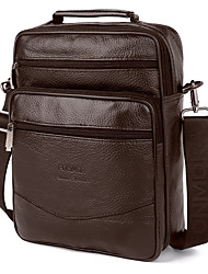cheap -Men's Bags Nappa Leather Cowhide Shoulder Messenger Bag Crossbody Bag Zipper Solid Color Daily Office & Career MessengerBag Black