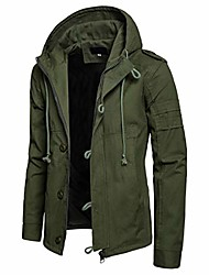 cheap -Men's Coat Parka Casual / Daily Solid Color Cotton Black / khaki / Army Green S / M / L
